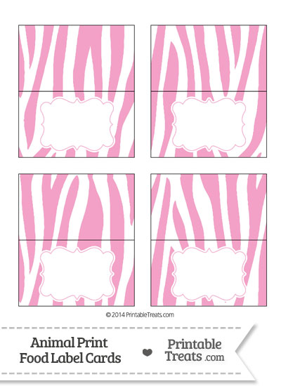 Baby Pink and White Zebra Print Food Labels from PrintableTreats.com