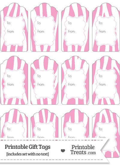 Baby Pink and White Zebra Print Gift Tags from PrintableTreats.com