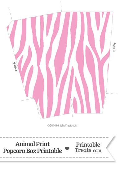 Baby Pink and White Zebra Print Popcorn Box from PrintableTreats.com