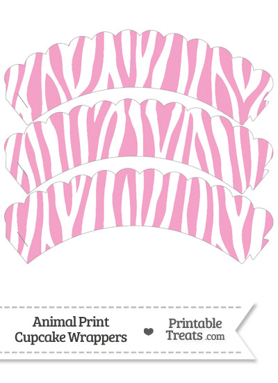 Baby Pink and White Zebra Print Scalloped Cupcake Wrappers from PrintableTreats.com