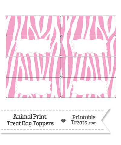 Baby Pink and White Zebra Print Treat Bag Toppers from PrintableTreats.com