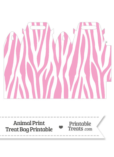 Baby Pink and White Zebra Print Treat Bag from PrintableTreats.com