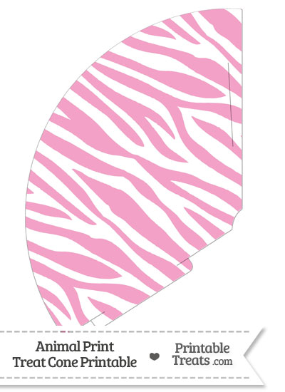 Baby Pink and White Zebra Print Treat Cone from PrintableTreats.com