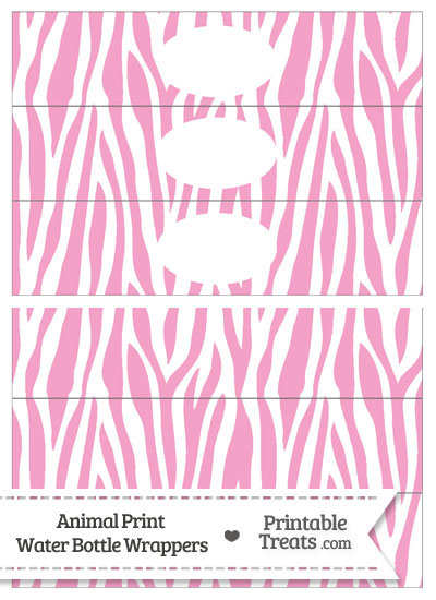 Baby Pink and White Zebra Print Water Bottle Wrappers from PrintableTreats.com