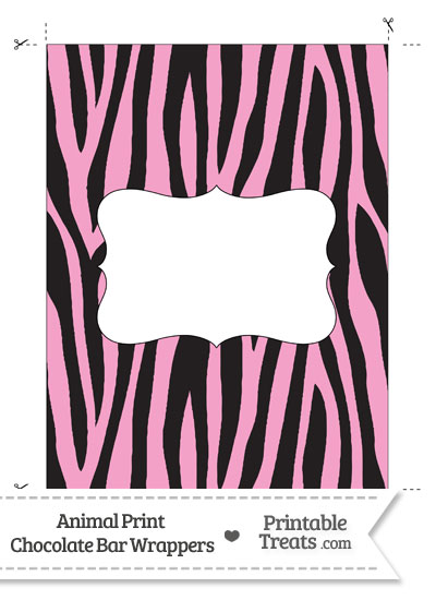 Baby Pink Zebra Print Chocolate Bar Wrappers from PrintableTreats.com