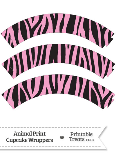 Baby Pink Zebra Print Cupcake Wrappers from PrintableTreats.com
