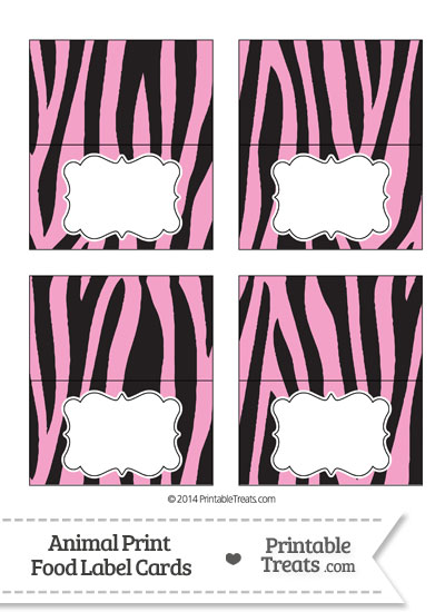 Baby Pink Zebra Print Food Labels from PrintableTreats.com