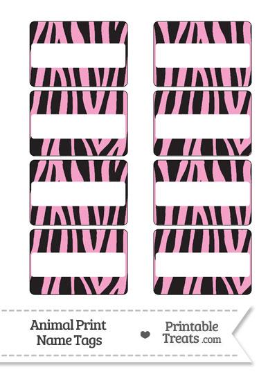 Baby Pink Zebra Print Name Tags from PrintableTreats.com