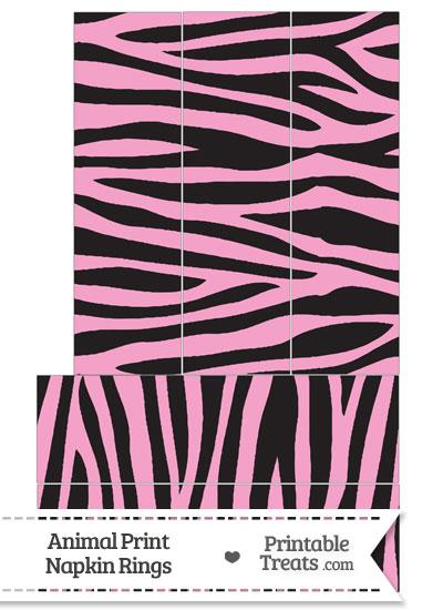 Baby Pink Zebra Print Napkin Rings from PrintableTreats.com