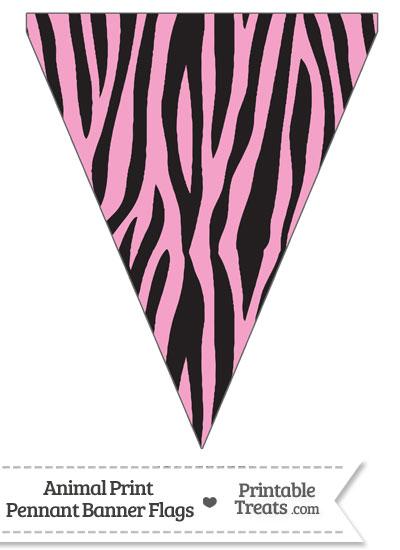 Baby Pink Zebra Print Pennant Banner Flag from PrintableTreats.com
