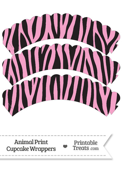 Baby Pink Zebra Print Scalloped Cupcake Wrappers from PrintableTreats.com