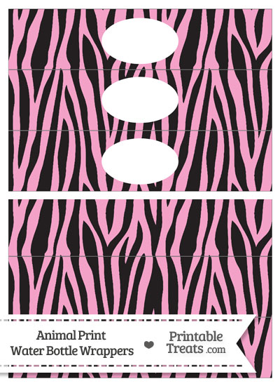 Baby Pink Zebra Print Water Bottle Wrappers from PrintableTreats.com