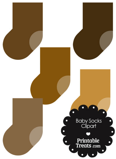 Baby Socks Clipart in Shades of Brown from PrintableTreats.com