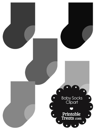 Baby Socks Clipart in Shades of Grey from PrintableTreats.com
