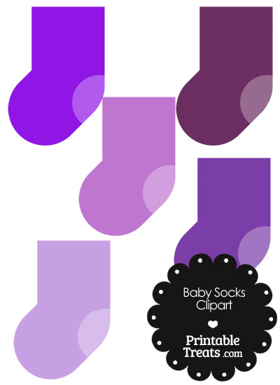 Baby Socks Clipart in Shades of Purple from PrintableTreats.com