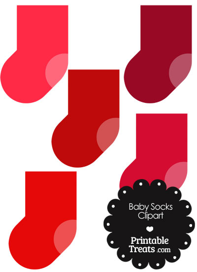 Baby Socks Clipart in Shades of Red from PrintableTreats.com