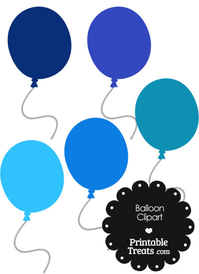 Balloon Clipart in Shades of Blue from PrintableTreats.com