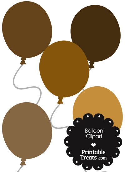 Balloon Clipart in Shades of Brown from PrintableTreats.com