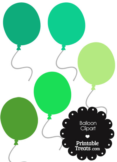 Balloon Clipart in Shades of Green from PrintableTreats.com
