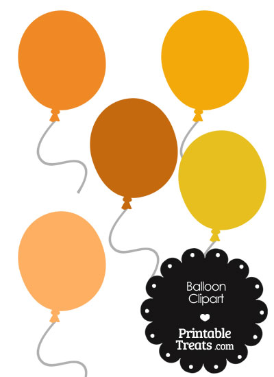 Balloon Clipart in Shades of Orange from PrintableTreats.com