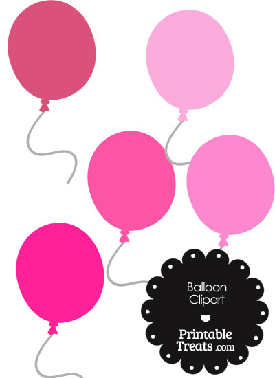 Balloon Clipart in Shades of Pink from PrintableTreats.com