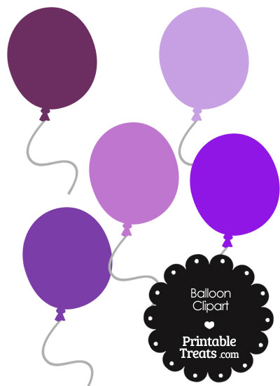 Balloon Clipart in Shades of Purple from PrintableTreats.com