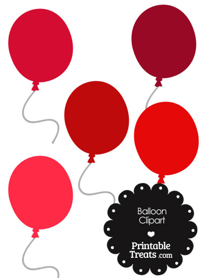 Balloon Clipart in Shades of Red from PrintableTreats.com