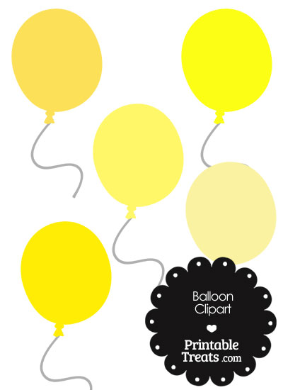 Balloon Clipart in Shades of Yellow from PrintableTreats.com