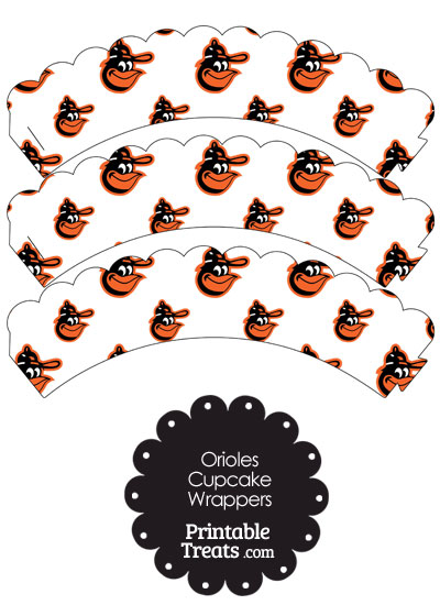 Baltimore Orioles Baseball Scalloped Cupcake Wrappers from PrintableTreats.com