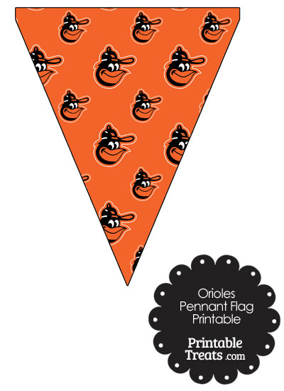 Baltimore Orioles Baseball with Orange Background Pennant Banners from PrintableTreats.com
