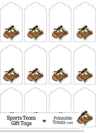 Baltimore Orioles Gift Tags from PrintableTreats.com