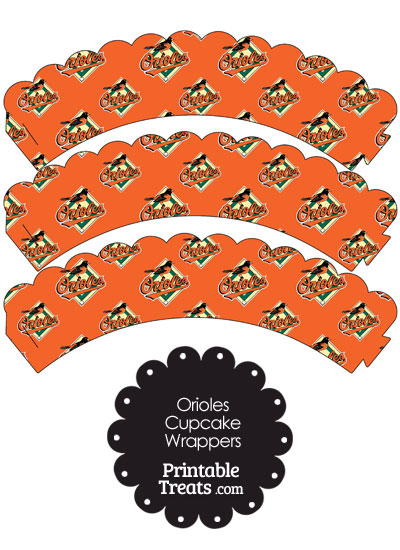 Baltimore Orioles Logo Scalloped Cupcake Wrappers from PrintableTreats.com