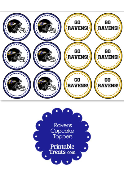 Baltimore Ravens Cupcake Toppers from PrintableTreats.com