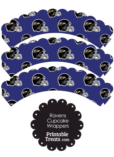 Baltimore Ravens Football Helmet Scalloped Cupcake Wrappers from PrintableTreats.com