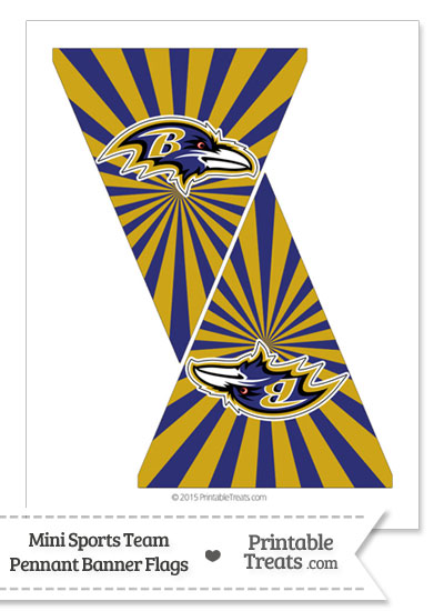Baltimore Ravens Mini Pennant Banner Flags from PrintableTreats.com