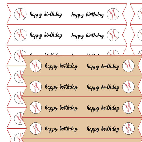 baseball party straw flags