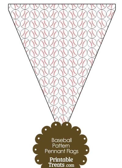 Baseball Pattern Pennant Banner Flag from PrintableTreats.com
