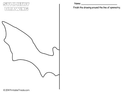 bat symmetry drawing worksheet