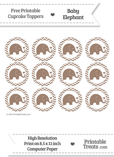 Beaver Brown Baby Elephant Chevron Cupcake Toppers from PrintableTreats.com