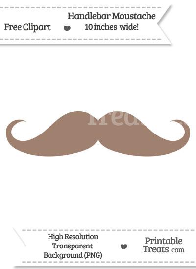 Beaver Brown Handlebar Moustache Clipart from PrintableTreats.com