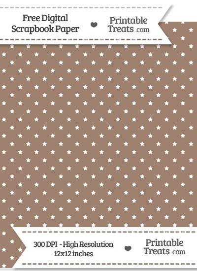 Beaver Brown Mini Stars Digital Paper from PrintableTreats.com