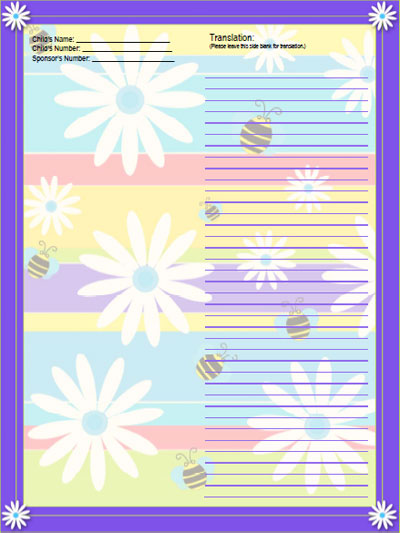 bees and flowers stationery for sponsored child