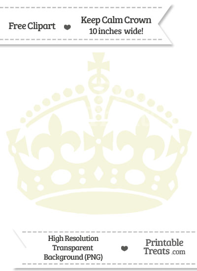 Beige Keep Calm Crown Clipart from PrintableTreats.com