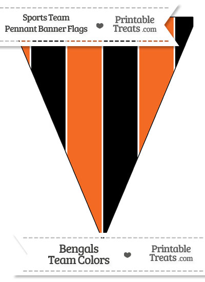 Bengals Colors Pennant Banner Flag from PrintableTreats.com