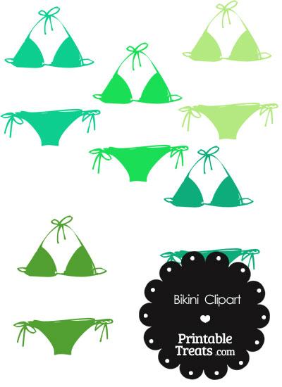 Bikini Clipart in Shades of Green from PrintableTreats.com