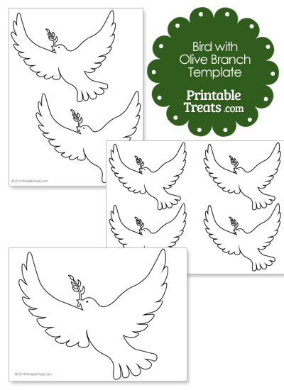 Bird with Olive Branch Template from PrintableTreats.com