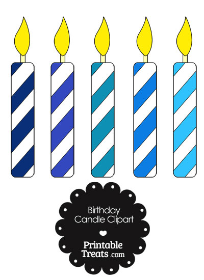 Birthday Candle Clipart in Shades of Blue from PrintableTreats.com