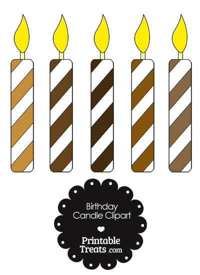 Birthday Candle Clipart in Shades of Brown from PrintableTreats.com