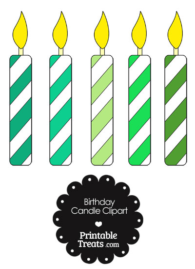 Birthday Candle Clipart in Shades of Green from PrintableTreats.com