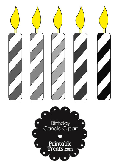 Birthday Candle Clipart in Shades of Grey from PrintableTreats.com